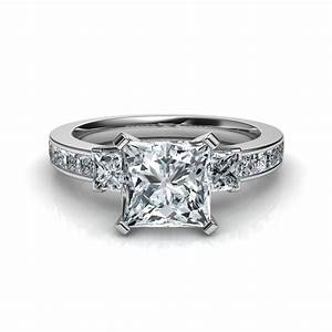 three stone princess cut diamond engagement ring With three diamond wedding ring