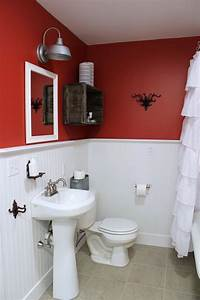 Excellent two tone white and red bathroom themes added