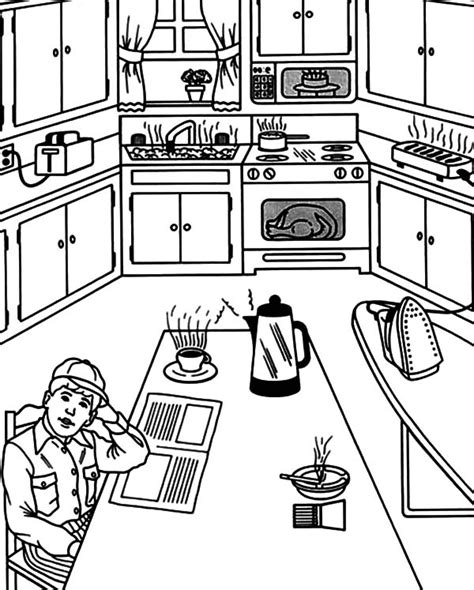 waiting  breakfast   kitchen coloring pages