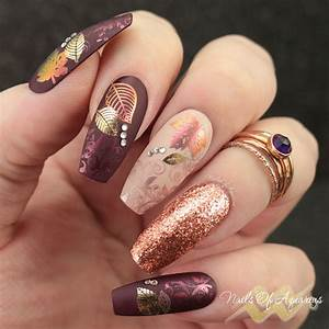 leaves are fall ing pigment and foil sted nail
