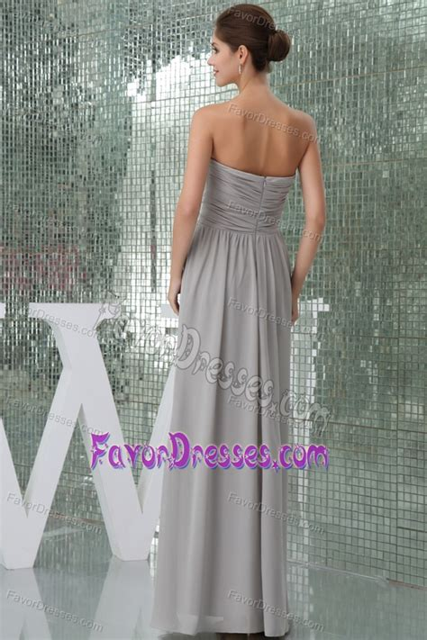 gray long chiffon quinceanera dama dresses  ruches