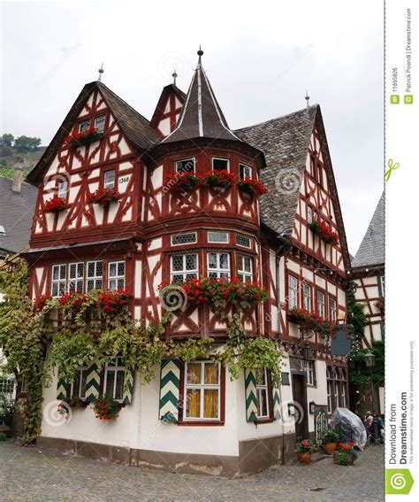 Altes Haus (oud Huis), In Bacharach, Duitsland Stock Foto