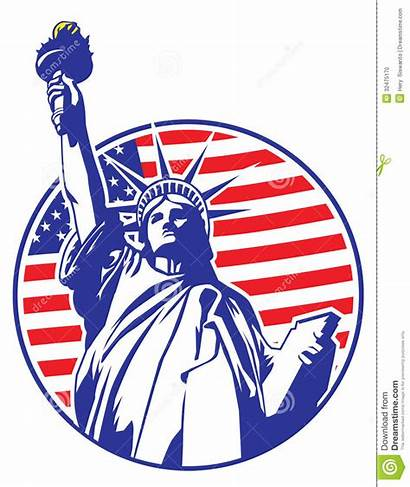 Liberty Statue Flag Usa Vector Clipart Background
