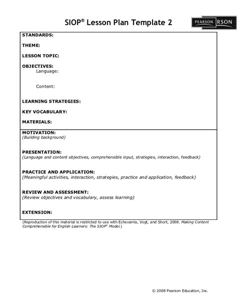 Siop Lesson Plan Template 2 Exle siop lesson plan template2