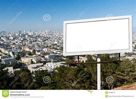 blank billboard sign  city background stock image