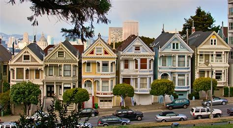 "A Row Of ""painted Ladies,"" As Colorful Victorian Houses In"