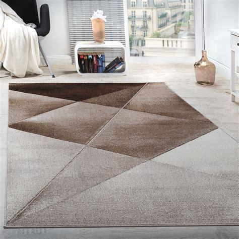 teppich beige kurzflor designer teppich modern geometrische muster kurzflor braun beige wei 223 meliert teppiche kurzflor