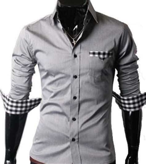 04   Men s Casual Slim Fit Long Sleeve Dress Shirt Grey