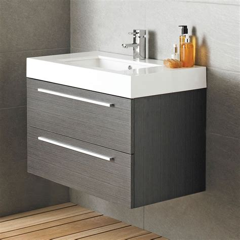 vienna wall mounted vanity unit mm wide textured grey
