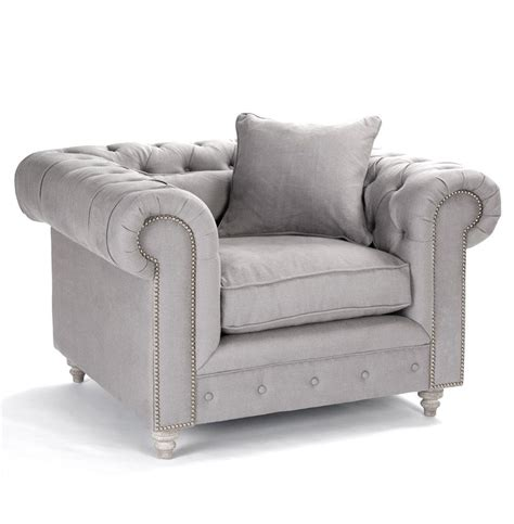alaine rolled arm grey linen tufted club chair