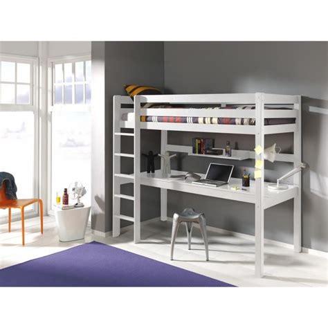 lit superpose avec bureau lit mezzanine avec bureau ruben 90x200 blanc achat