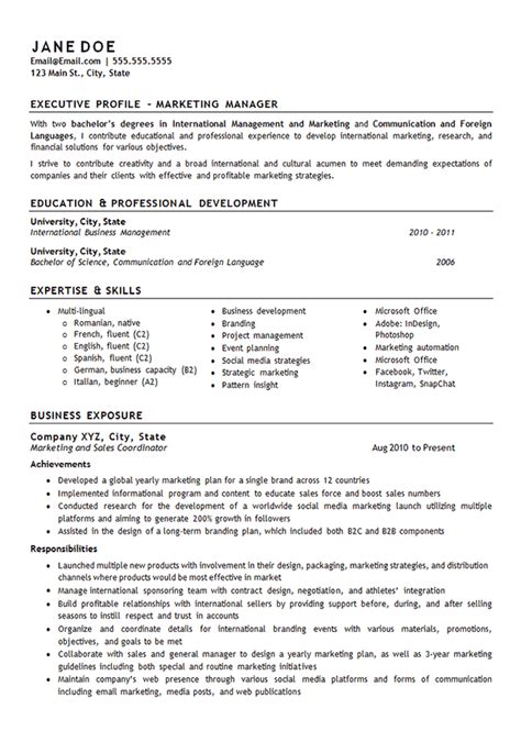 Director Of Marketing Resume by Marketing Manager Resume Exle International Management