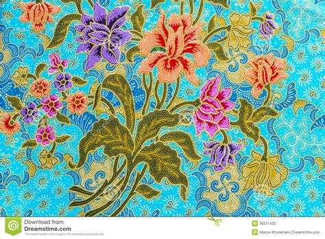 beautiful colorful flowers  batik background stock