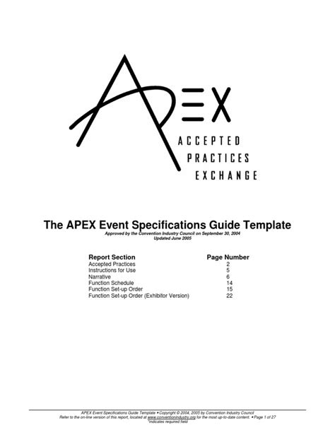 APEX Event Specifications Guide | Specification (Technical