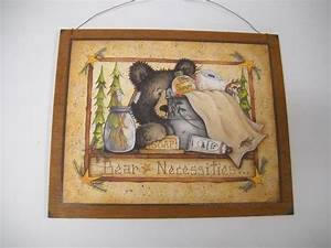 Bear necessities wooden country bathroom wall art sign