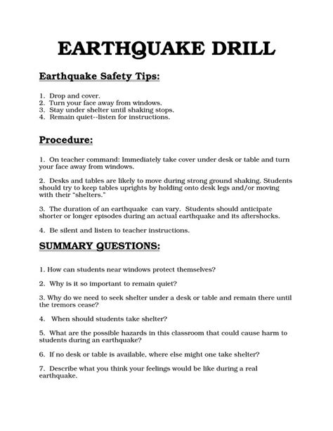 earthquake drill procedures bing images education