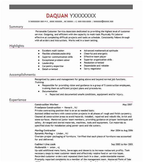 Construction Resumes by Construction Worker Resume Sle Resumes Misc Livecareer