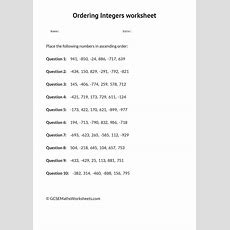 Ordering Integers Worksheet  Gcse Maths Worksheets  Number  Integers Worksheet, Gcse Math