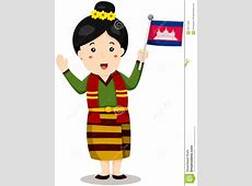 Cute Cambodian Girl In Traditional Clothes With Flag Stock