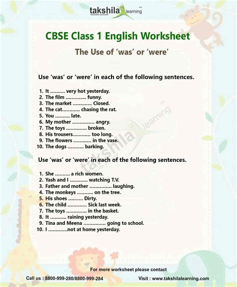 ncert worksheet for class 1 the use of was or
