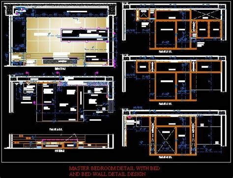 Bedroom Wall Drawings by Complete Master Bedroom Interior Detail Layout Bed Wall