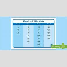 Phase 2 Tricky Words To Phase 5 Tricky Words  Word Mat