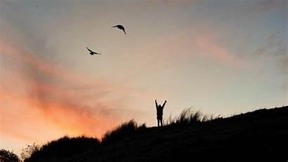 Freedom Silhouette Month Sunset Uhd 4k Standard