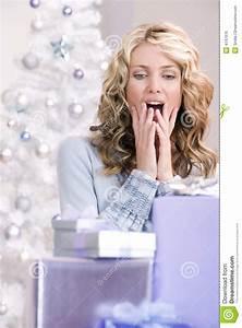A Beautiful Woman Amazed At Christmas Royalty Free Stock ...