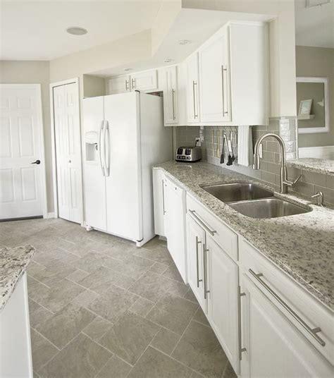 white kitchen floor tile ideas white cabinets gray subway tile kashmir white granite