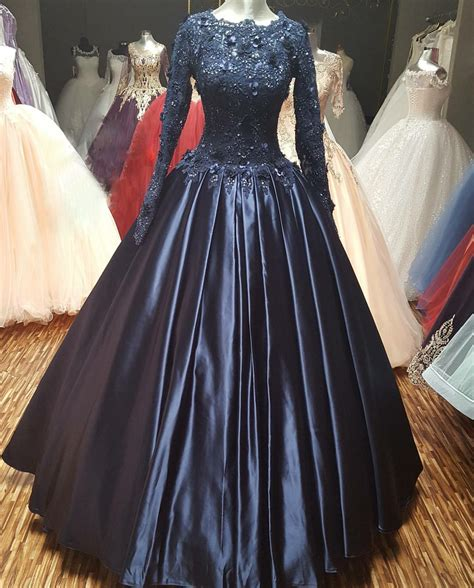 navy blue ball gown prom dress  long sleeves