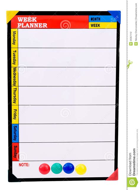 week planner stock photography image