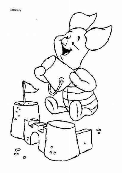 Sand Castle Coloring Pages Piglet Drawing Clipart
