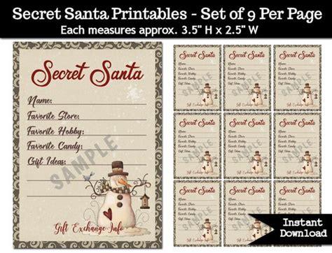 secret santa gift exchange printable  christmas party