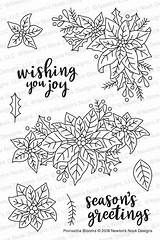 Nook Newton Coloring Poinsettia Stamps Clear Blooms Simonsaysstamp sketch template