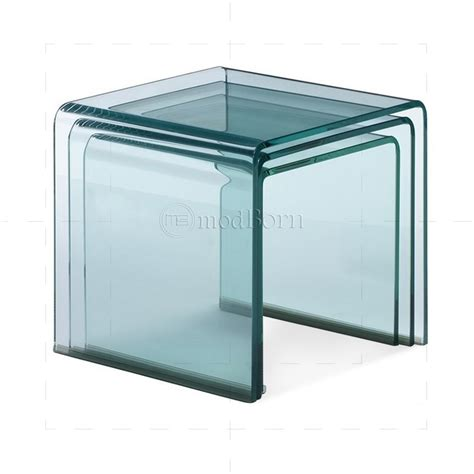 nested tables furniture safety glass nest of 3 coffee side tables clear