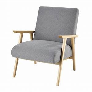 Canapé Maison Du Monde Gris : fauteuil en tissu gris benson maisons du monde ~ Dallasstarsshop.com Idées de Décoration