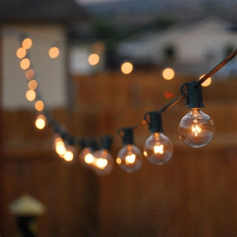 Lights Outdoor Wallpaper by 25ft G40 Globe Bulb String Lights With 25 Clear