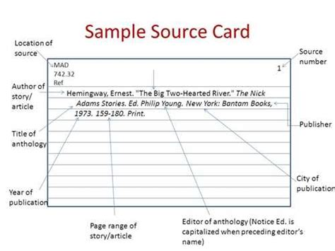 Mla Research Paper Source Cards