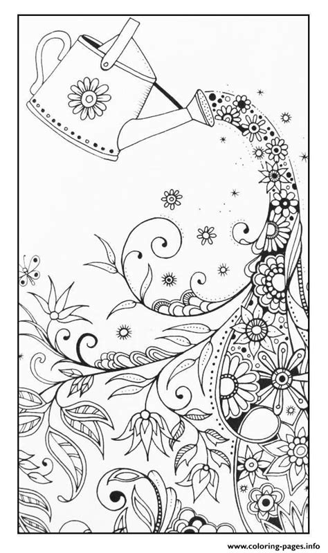 Adult Magical Watering Can Coloring Pages Printable