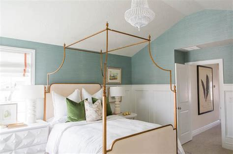 Blue Sisal Bedroom Wallpaper with Gold Leaf Canopy Bed Transitional Bedroom Sherwin