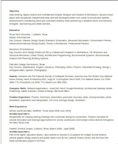 sample architecture resume templates  ms word