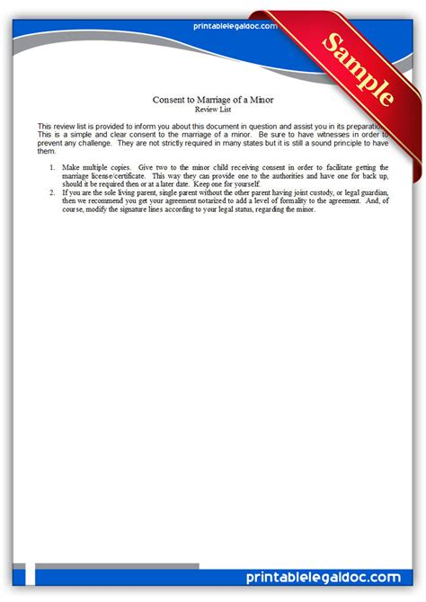 printable consent  marriage   minor form generic
