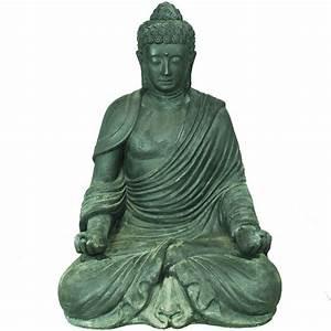 Statue De Bouddha : statue bouddha exterieur zen h110cm noir pierre ~ Teatrodelosmanantiales.com Idées de Décoration