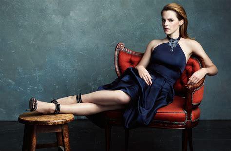 Emma Watson, Women, Blue Dress, High Heels, Toes