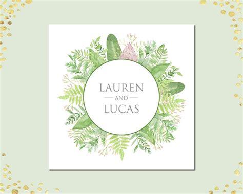 Botanical Personalized Napkins Green Foliage Wreath