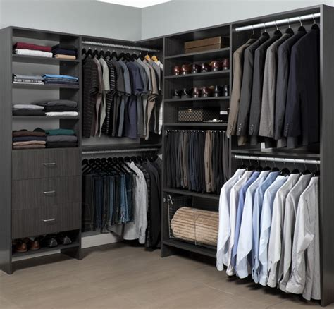 Walk In Men's Closet Organizer In A Contemporary Licorice