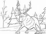Coloring Frozen Christmas Pages Sven sketch template