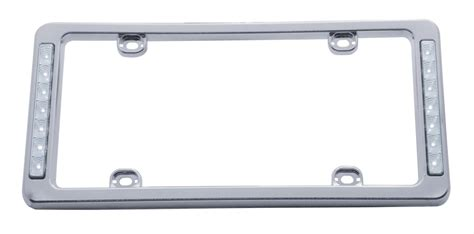 United Pacific License Plate Frame Plastic Chrome Red Led