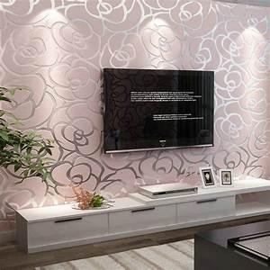 10M 3D non woven wallpaper Golden big rose sitting room ...