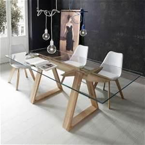 Table Bois Massif Design : achat de tables de salle manger en verre 4 pieds ~ Teatrodelosmanantiales.com Idées de Décoration